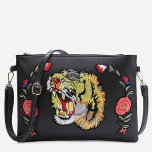 Black Tiger Embroidered Patch Faux Leather bag